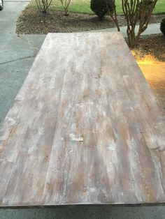 How to Paint, Stain, Whitewash & Distress a Fancy X Farmhouse Table by Ana White - Building Our Rez Raw Furniture, Green Painted Furniture, Rustic Furniture, White Furniture, Farmhouse Furniture, Painting Furniture, Furniture Ideas, Farmhouse Decor, White Wash Table