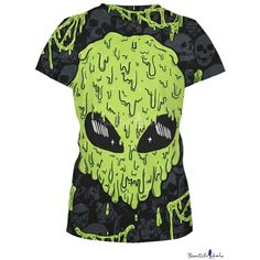 Green Alien Skull Print Short Sleeve Slim Tee ($29) ❤ liked on Polyvore featuring tops, t-shirts, slimming tops, short sleeve t shirts, slim t shirts, skull tee and slim fit tees