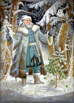 Ded Moroz, Father Christmas in Russia Vintage Christmas Images, Victorian Christmas, Christmas Pictures, Christmas Scenes, Christmas Art, Primitive Christmas, Country Christmas, Christmas Wishes, Illumination Noel