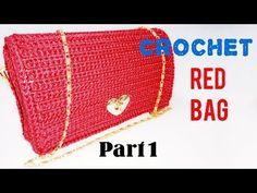 How to Crochet Red Bag part 1 - Hướng dẫn móc túi truợt mũi trên canvas P1 - YouTube