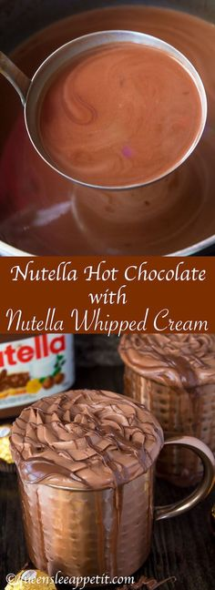 Nutella lovers gather around! This Nutella Hot Chocolate is thick, rich, creamy and decadent! Topped with Nutella Whipped Cream, melted Nutella, chopped hazelnuts and Ferrero Rochers — this is the ultimate drink for every Nutella fanatic!