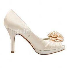 Satin Women's Wedding naaldhak peep toe sandalen met bloem (meer kleuren) - EUR € 49.99