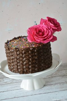 Curly Girl Kitchen: Dark Chocolate Chocolate Cake with sprinkles and pink roses