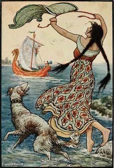 "Frank C Pape. Girl Chernavushka. Illustration from the russian bylina ""Vasily Buslaev and residents of Novgorod"". 1916."