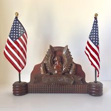 Vintage Americana Eagle Wooden Hand Carved Desk Flag Holder July 4th Patriotic Wooden Hand Flag Holder Vintage Americana