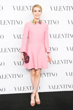 What: Valentino Where: Valentino Sala Blanca Couture Show Why: The actress channels style icons of the '60s.   - HarpersBAZAAR.com