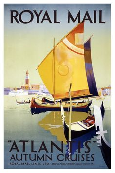 classic posters, free download, graphic design, retro prints, travel, travel posters, vintage, vintage posters, Royal Mail Lines, Atlantis A...