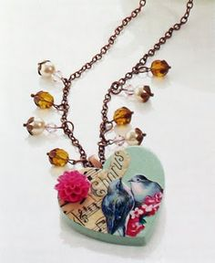 Pretty decoupaged pendant by Helen Cant. Found at The Graphic Fairy.