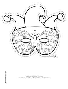 Mardi Gras Jester Mask to Color Printable Mask