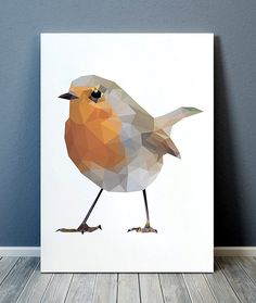 Beautiful Polygonal print for your home and office. Cute Geometric print. Nice modern Bird art. Lovely Robin poster. SIZES: A4 (8.3 x 11) and A3