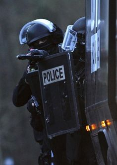 "fnhfal:""French GIPN intervention police forces secure a neighbourhood in Corcy, northeast of Paris January 8, 2015."""