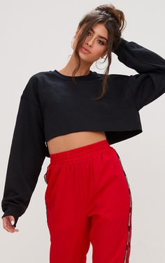 Black Ultimate Cropped SweaterUp your casual game with this ultimate  cropped sweater. In soft cot. 5fdae3095ae8