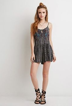 Embroidered Tribal Print Romper | Forever 21 | #f21summercool