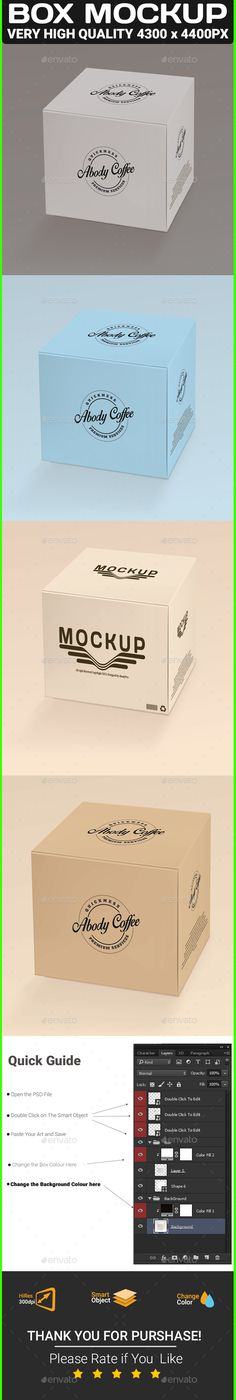 Box Mock-up by abodyPro 1 Layered PSD files 43004400px / 300dpi Smart Objects For Product Graphics (doubleclick the smart object, paste your artwork and s