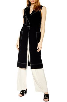 Women's Topshop Sleeveless Utility Duster Coat, Size 14 US (fits like - Black Sleeveless Duster, Nordstrom Beauty, Prom Looks, Men Looks, Looking For Women, Night Out, Size 14, Duster Coat, Stylists