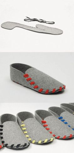 Team Lasso is raising funds for Lasso: your very own must-have slippers for ultimate comfort on Kickstarter! Lasso is a pair of flat-packed slippers. Made from one piece of wool-felt with a leather sole and laced in the colour of your choice. Felt Crafts, Fabric Crafts, Sewing Crafts, Sewing Projects, Diy Crafts, Sewing Diy, Diy Projects, Ideas Paso A Paso, Diy Mode