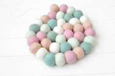 Pink and Blue Garland Pastel Pink and Blue Felt Ball Garland
