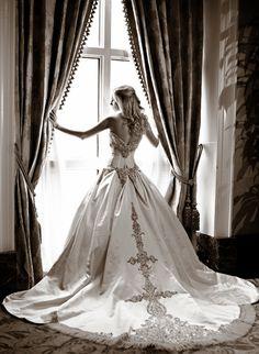 Black and White bridal photos, Crescent Hotel, Window Curtains, Priscilla of Boston Wedding dress