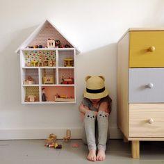 Little House Shaped Shelf on the Wall, cat ear straw hat