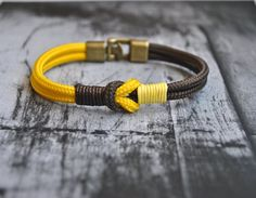 Sailor knot Nautical bracelet mens bracelet yellow brown