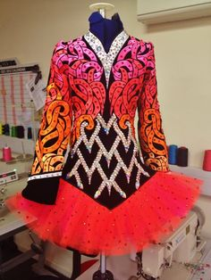 Colorful Irish Dance Solo Dress by Celtic Star.  Red, orange, black