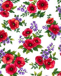 Poppy Panache - Poppies, Asters & Bluebells - White