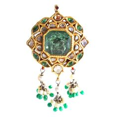 19th Century Indian Emerald Diamond Bena Pendant | From a unique collection of vintage more jewelry at https://www.1stdibs.com/jewelry/more-jewelry-watches/more-jewelry/