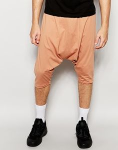ASOS Extreme Drop Crotch Shorts In Super Lightweight Fabric In Tan