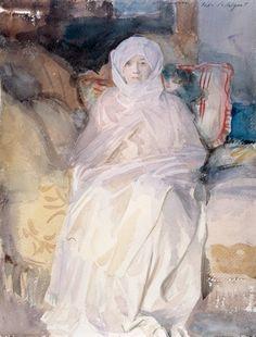 Mrs. Gardner in White, 1922, John Singer Sargent, American, 1856-1925, Watercolor on paper , 43 x 32 cm