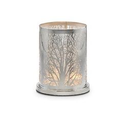 Enchanted Woodland Votive Hurricane: An intricate maze of photo-etched branches creates the aura of an enchanted forest. Metal hurricane with glass cup for votives or tealights, sold separately. 6 h, 5 dia. Hurricane Candle Holders, Hurricane Lamps, Fairy Lights, Tea Lights, Partylite, Beautiful Candles, Scented Candles, Jar Candles, Tea Light Holder