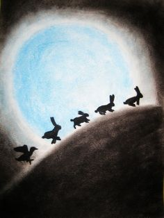residential-rabbits:    Rabbits and the Moon by ~maddieziff