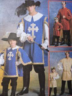 Adult Musketeer and Prince Royalty Stage Play Comicon Halloween Unisex McCall's 5214 Pattern Mens Adult Small to X-Large Sizes 34 thro to 48 Halloween Patterns, Costume Patterns, Musketeer Costume, Prince Costume, Renaissance Dresses, Stage Play, Doublet, Sewing Patterns For Kids, Contrast Collar