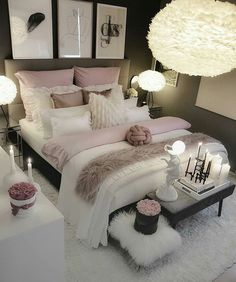 pink bedroom hues complemented with chunky knits beautiful bedroom rh pinterest com
