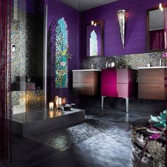 This bathroom is amazing!  The colors are so luxurious and funky at the same time!