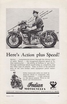 1934 Indian Motorcycle Springfield MA Ad: Motorcycle Police Action Plus Speed