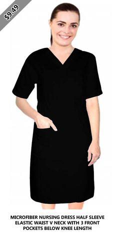 Microfiber nursing dress half sleeve elastic waist v neck with 3 front pockets below knee length Half Sleeve Dresses, Half Sleeves, Discount Scrubs, Lab Coats, Scrub Jackets, Dark Khaki, Nursing Dress, Comfortable Fashion