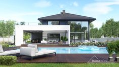 Find home projects from professionals for ideas & inspiration. Projekt domu HomeKONCEPT 60 by HomeKONCEPT Modern Exterior House Designs, Dream House Exterior, Modern House Design, New House Plans, Modern House Plans, Build Your House, Building A House, Casa Art Deco, Double Storey House Plans