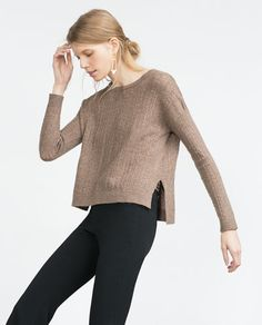 Discover the new ZARA collection online. The latest trends for Woman, Man, Kids and next season's ad campaigns. Brown Sweater, Zara United States, Zara Women, Zara Tops, New Trends, Pulls, Knitwear, Autumn Fashion, Sweaters