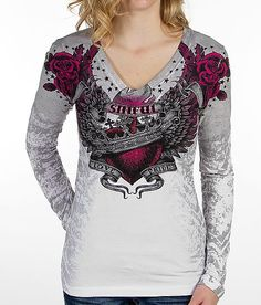 If this were a tattoo, it would be pretty awesome (Sinful Avarice V-Neck Top) Affliction Clothing, Gothic Shirts, Cool Outfits, Fashion Outfits, Tee Shirt Designs, Shirt Jacket, I Love Fashion, V Neck Tops, My Style
