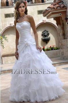 A-Line Strapless Organza Wedding Dress - IZIDRESSES.COM at IZIDRESSES.com