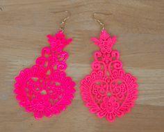 Neon lace earrings