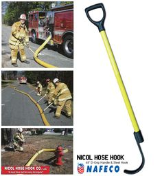 """Nicol Hose Hook with 48"""" D-grip Handle and Steel Hook: Developed to assist firefighters in moving charged large diameter supply fire hose. Whether in removing kinks for maximum water flow or clearing the way for fire operations. The Nicol Hose Hook allows for easy fire hose movement preventing possible injury to the firefighter."""