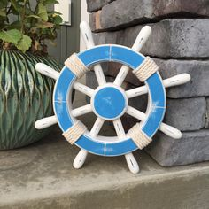 Items Similar To Rustic Light Blue And White Nautical Ship Wheel Decorative S Wood Vintage Decor 084 On