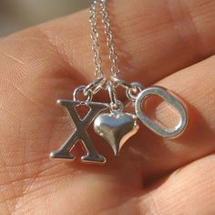 Silver Hugs and Kisses Necklace  - Love, Valentines, Hugs, Kisses, Anniversary