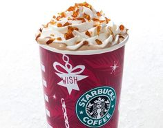 Butterscotch Latte! Caramel and toffee nut syrup; tall = 3 pumps of caramel and 3 pumps of toffee nut; grande = 4 pumps of caramel and 4 pumps of toffee nut; venti = 5 pumps of caramel and 5 pumps of toffee nut. Topped with whipped cream, caramel drizzle and caramel brulee bites!**Note that caramel brulee bites may be seasonal at your local store.