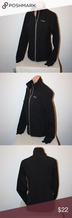 """COLUMBIA Titanium Omni-Shield Coat Small Black Columbia  Excellent Condition - No Stains or Holes  Black  Zip Up Front  Two Front Zippered Pockets  Small  Thumb Holes At Sleeve Hems  Drawcord At Bottom Hem  Omni-Shield  Titanium  Stretch     Chest:  38"""" (armpit to armpit, then doubled)  Length:  26""""  Sleeve Length:  26 1/2""""   Shell:  51% Recycled Polyester, 46% Polyester and 3% Elastane Columbia Jackets & Coats"""