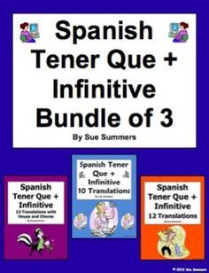 Spanish Tener Que + Infinitive Bundle of 3 Worksheets by Sue Summers - This bundle contains a total of 35 English to Spanish present tense sentences, each containing tener que + infinitive with a variety of verbs and vocabulary.