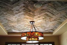Reclaimed Wood Ceiling. What a beautiful statement this would make in a foyer or small powder room!