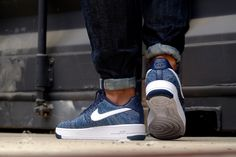 Nike Air Force 1 Ultra Flyknit Low Obsidian/ White-Star Pure Platinum - 817419-400