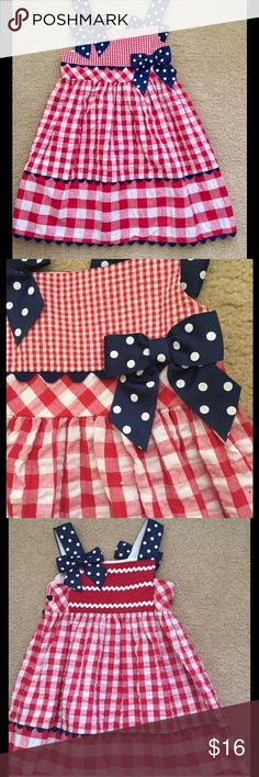 Red Gingham Size 4 Sundress Cute red checked sundress Navy trim  Size 4 Bonnie Jeans Worn one time Perfect for 4th of July! Bonnie Jean Dresses Casual